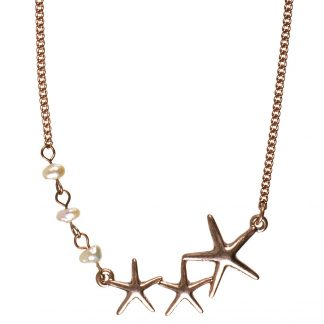 Under The Waves Starfish & Pearl Necklace 42cm Rose Gold