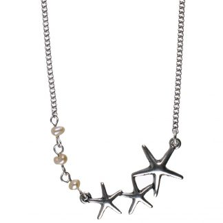 Under The Waves Starfish & Pearl Necklace 42cm Silver