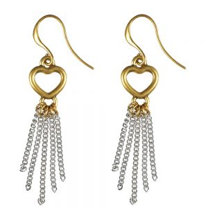 Infinity Heart Tassel Earrings