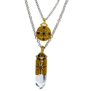 Nordic Navigation & Icicle Pendant Layered Chain Necklace Silver Gold