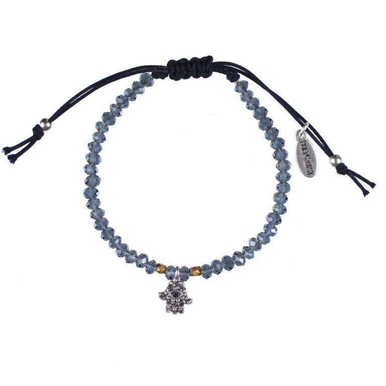 Hultquist Hamsa Macrame Bracelet Silver 0433S-BL