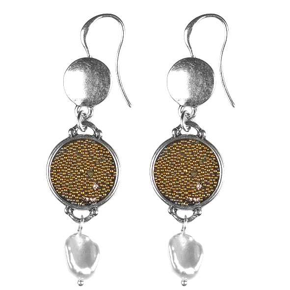 Embossed Crystal Fabric Hook Earrings with Freshwater Pearls