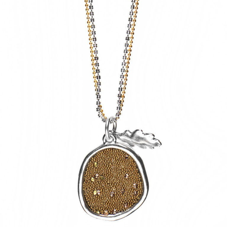 Embossed Crystal Fabric & Oak Leaf Pendant Necklace - BiColour