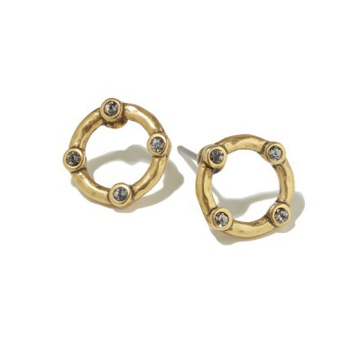 Organic Circle Gold Stud Earrings
