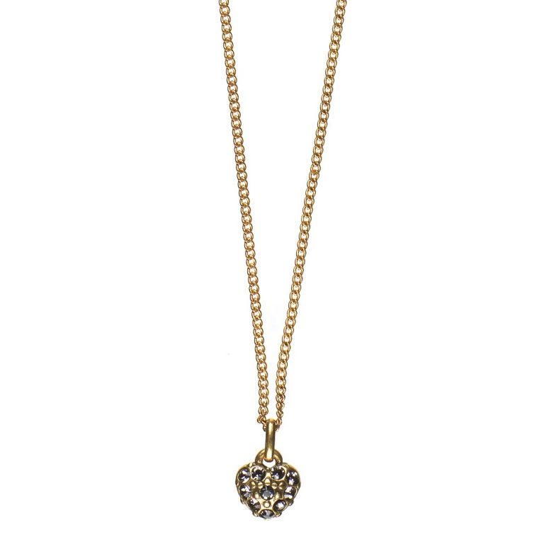 Pave' Heart Necklace Gold - 42cm