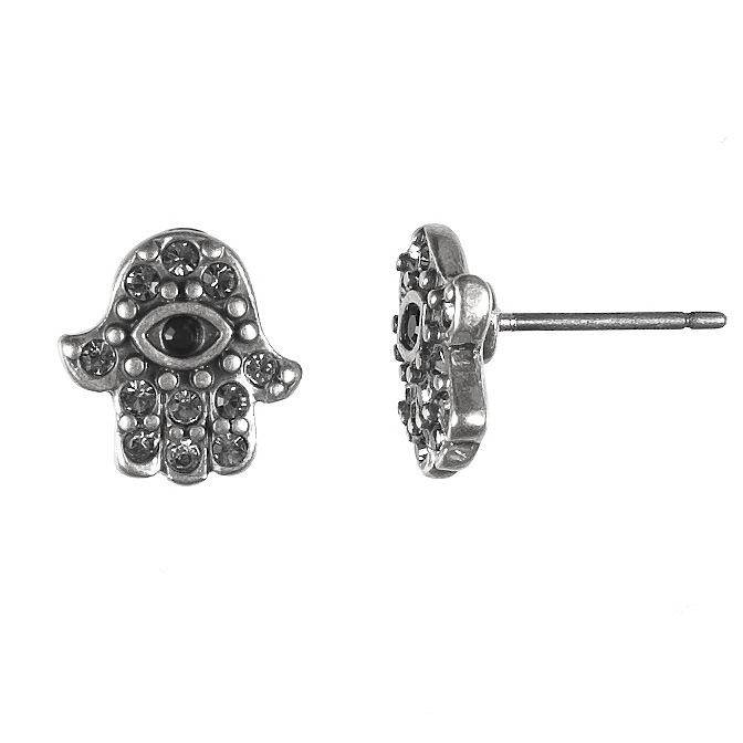 Hamsa Stud Earrings Silver 0437S-BL