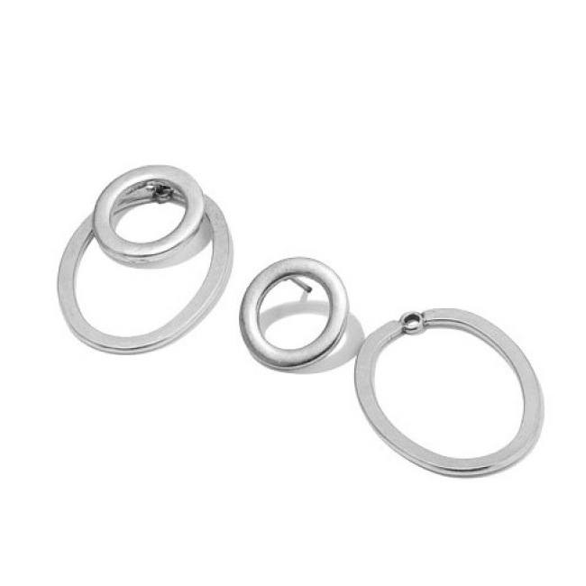 Double Hoop Earrings Silver