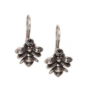 Bee Drop Earrings Silver