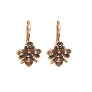 Bee Drop Earrings Gold