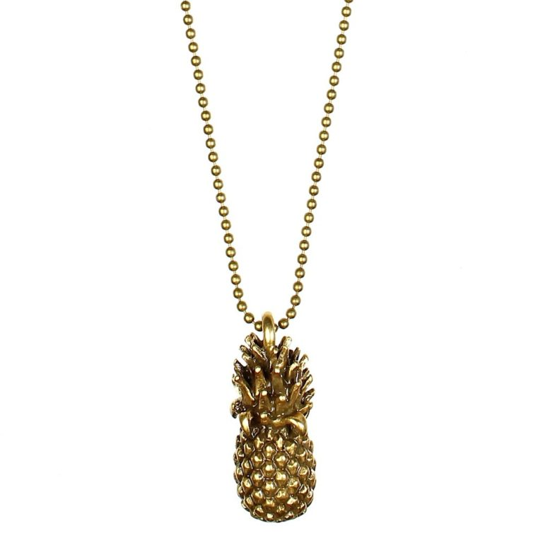 Pineapple Long Chain Necklace - Gold