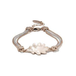 Oak Leaf Triple Chain Bracelet Rose Gold & Silver