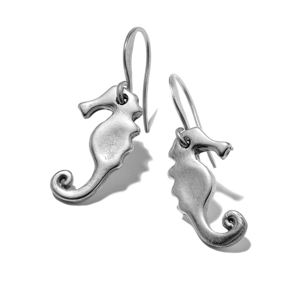 Hultquist Seahorse Hook Earrings Silver