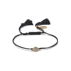 Hultquist Crystal Circle Macrame' Bracelet Gold