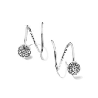 Hultquist Crystal Circle Twist Earrings Silver