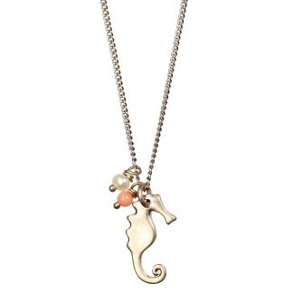 Hultquist Seahorse Freshwater Pearl and Bead Necklace Rose Gold