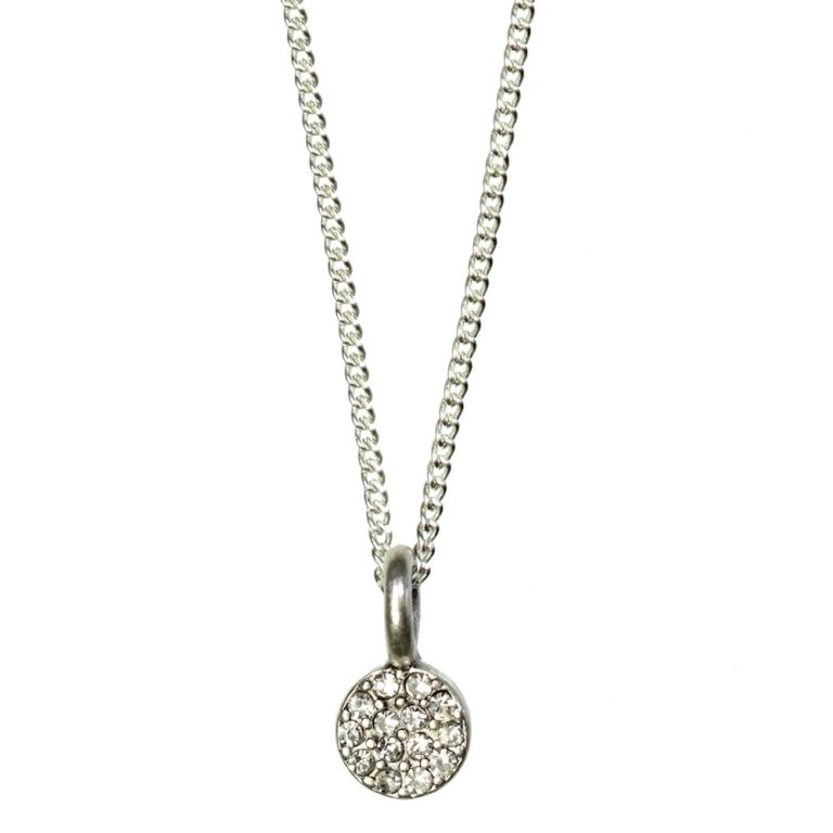 Hultquist Crystal Circle Pendant Necklace Silver