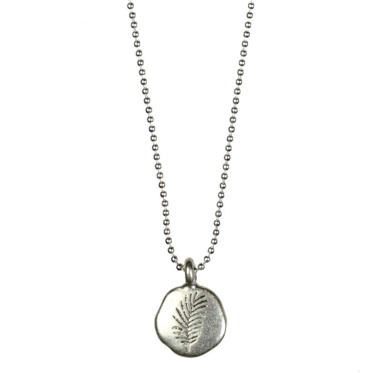 Hultquist Engraved Disc Pendant Necklace Silver