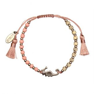 Hultquist Seahorse Bead Macrame' Bracelet Rose Gold