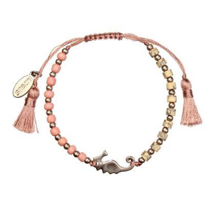 Hultquist Seahorse Bead Macrame' Bracelet Rose Gold