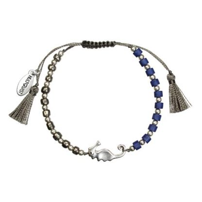 Hultquist Seahorse Bead Macrame Bracelet Silver