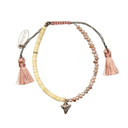 Hultquist Pearl and Shark Tooth Macrame' Bracelet Rose Gold