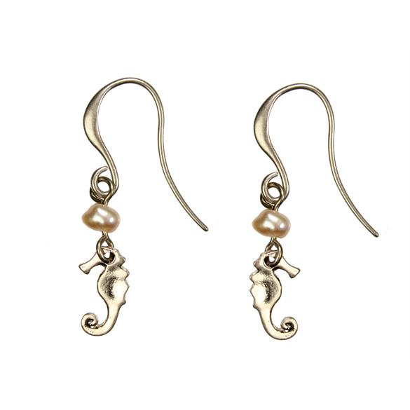 Hultquist Seahorse and Pearl Hook Earrings Rose Gold