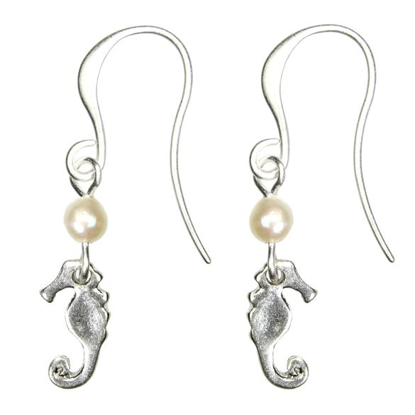 Hultquist Seahorse and Pearl Hook Earrings Silver