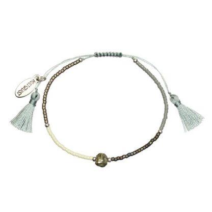 Hultquist Ocean Bead Macrame Bracelet Silver