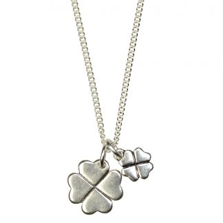 Hultquist Double Clover Necklace Silver