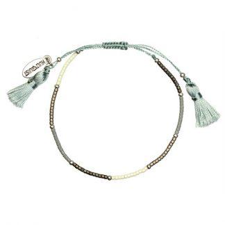 Hultquist Blue, Ecru and Pearl Bead Macrame' Bracelet