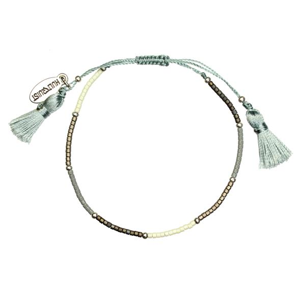Hultquist Blue, Ecru and Pearl Bead Macrame' Bracelet
