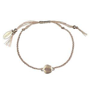 Hultquist Palm Leaf Disc Macrame Bracelet Rose Gold