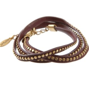 Hultquist Leather Wrap Bracelet Gold Burgundy 391975GBO