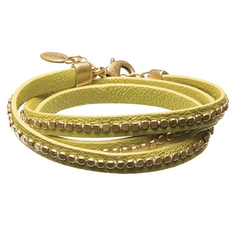 Hultquist Leather Wrap Bracelet Gold Lime 391975GL
