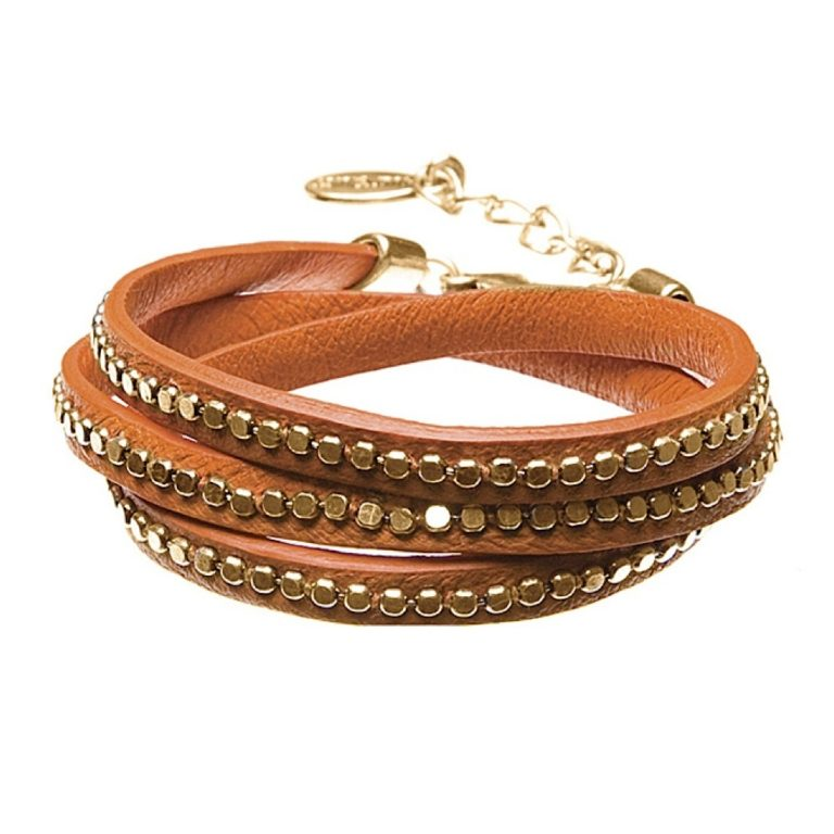 Hultquist Leather Wrap Bracelet Gold Orange 391975GO