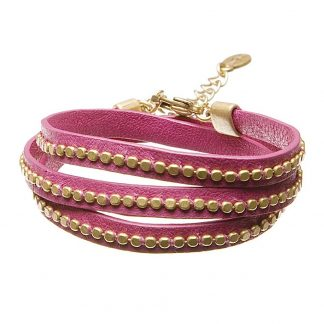 Hultquist Leather Wrap Bracelet Gold Pink 391975GP