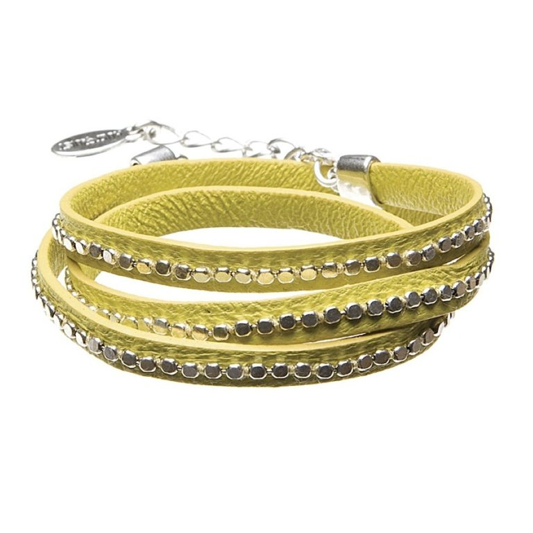 Hultquist Leather Wrap Bracelet Silver Lime 391975SL