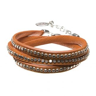 Hultquist Leather Wrap Bracelet Silver Orange 391975SO