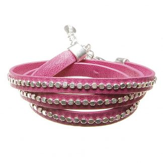 Hultquist Leather Wrap Bracelet Silver Pink 391975SP