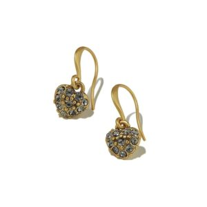 Hultquist Pave Heart Hook Earrings Gold