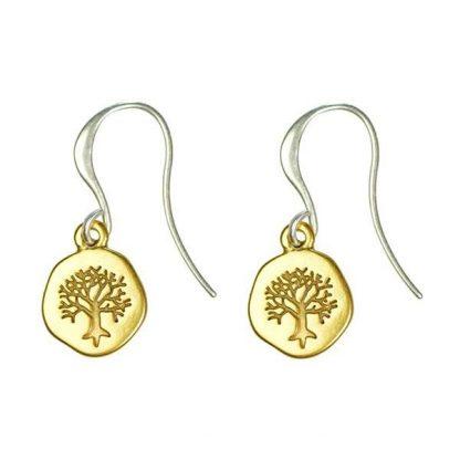 Hultquist Engraved Tree Hook Earrings BiColour 1266BI