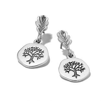 Hultquist Engraved Tree & Oak Leaf Earrings 1267S