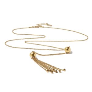 Hultquist Ball & Chain Tassel Necklace Gold 1283G