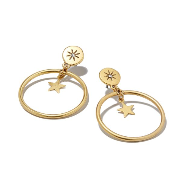 Hultquist Moon & Star Drop Hoop Earrings Gold 1314G