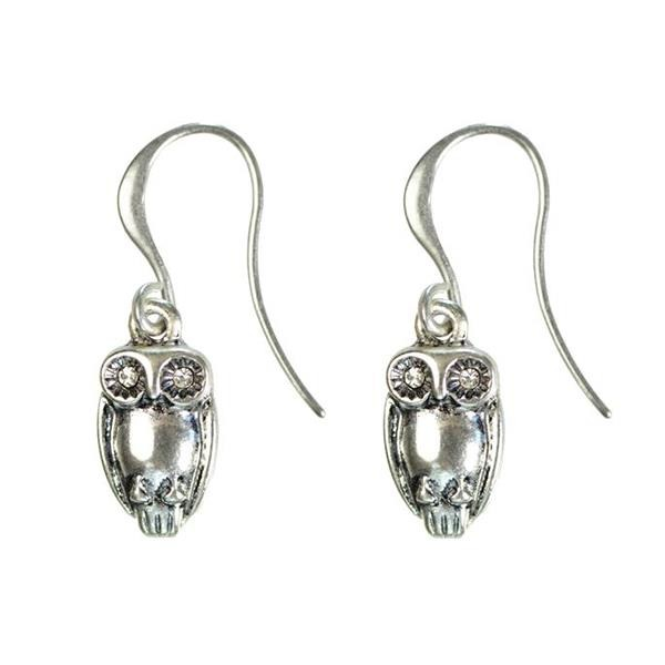 Hultquist Tawny Owl Hook Earrings Silver 1319S