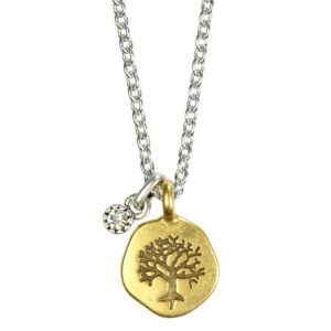 Hultquist Embossed Tree Coin Necklace BiColour 1260BI