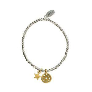 Hultquist Moon & Star Elastic Bracelet BiColour 1294BI