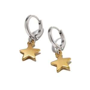Hultquist Star Drop Hoop Earrings BiColour 1305BI