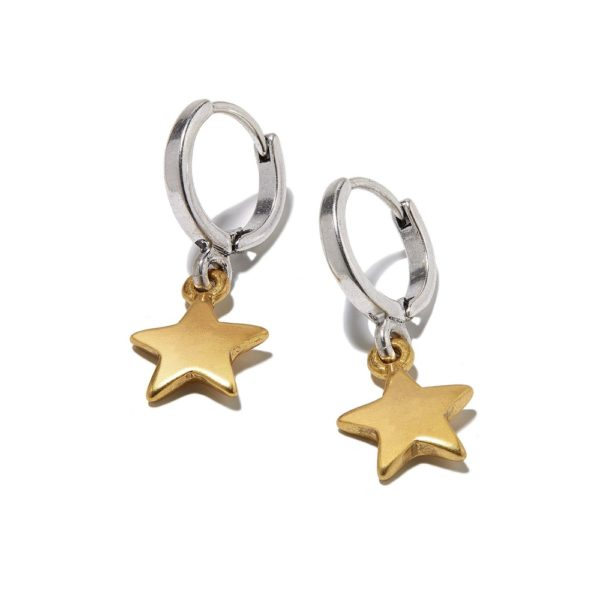 Hultquist Star Drop Hoop Earrings BiColour 1305BI