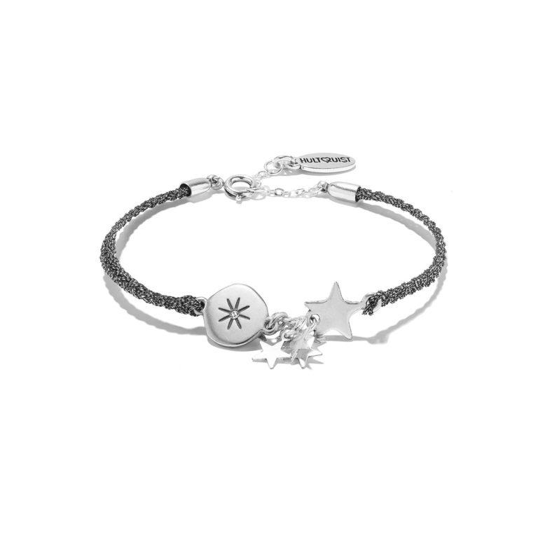Hultquist Moon & Stars Cord Bracelet Silver 1328S